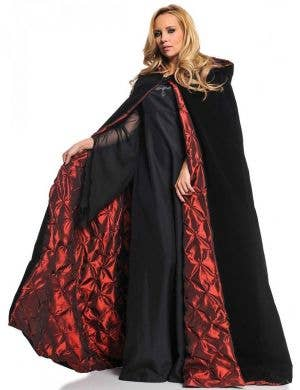 Deluxe Black and Red Velvet Halloween Cape