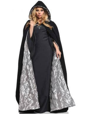 Deluxe Women's Velvet and Satin Hooded Halloween Cloak