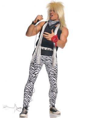 1980's Rocker Men's Black and White Zebra Print Costume