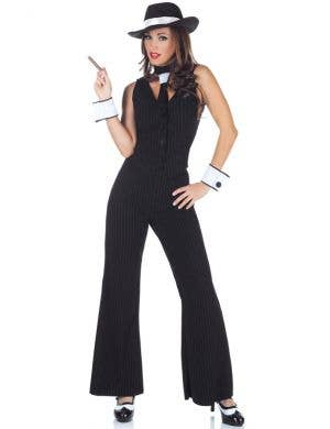 Women's Black 1920's Mobster Costume Suit Front View