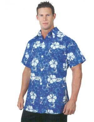 Men's Deluxe Blue Hawaiian Costume Shirt