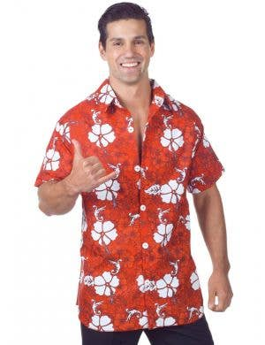 Men's Novelty Red Hawaiian Fancy Dress Costume Shirt