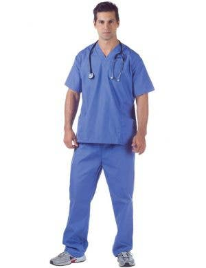 Deluxe Men's Blue Doctor's Scrubs Fancy Dress Costume Front