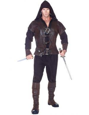Men's Medieval Assassin Robin Hood Fancy Dress Costume Front