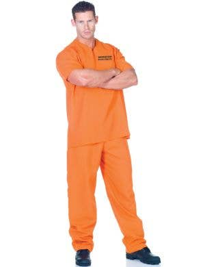 Public Offender Men's Plus Size Orange Prisoner Costume