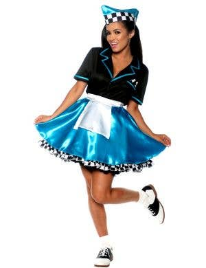 1950's Blue Car Hop Women's Fancy Dress Costume