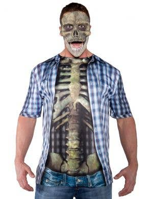 Photo Real Skeleton Print Men's Halloween Costume Shirt