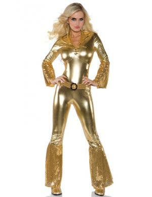 70's Women's Metallic Gold Disco Jumpsuit Costume Front View