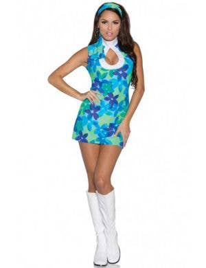 Women's Blue Retro 60's Flower Costume Dress Front View