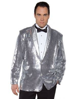 Cabaret Men's Plus Size Silver Sequined Costume Jacket