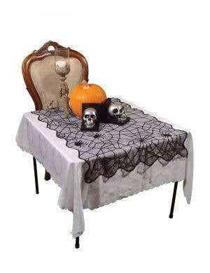 Spider Web Black Lace Small Halloween Table Cover