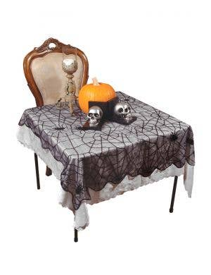 Spider Web Black Lace Large Halloween Table Cover