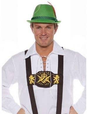 German Men's Brown Oktoberfest Lederhosen Suspenders