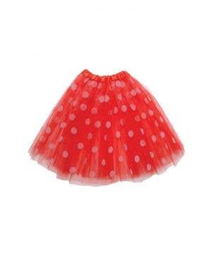 Polka Dot Red and White Mesh Women's Costume Tutu