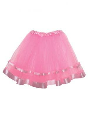 Light Pink Mesh Women's Costume Tutu With Ribbon Trim