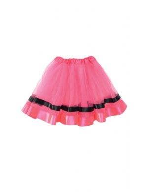 Hot Pink Mesh Women's Costume Tutu With Ribbon Trim
