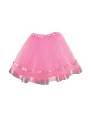 Light Pink Mesh Women's Costume Tutu With Ribbon Trim