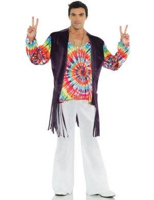1960's Tie Dye Men's Hippie Fancy Dress Costume