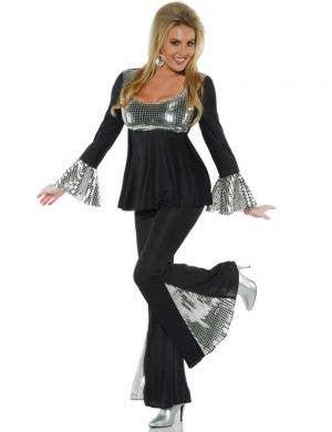 Disco 70's Women's Black and Silver Costume