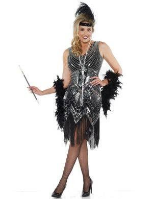 Platinum Women's 1920's Black and Silver Flapper Costume