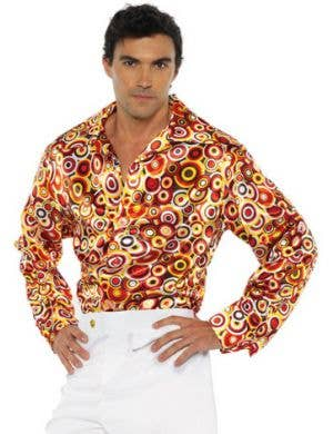 1970's Orange Circle Pattern Plus Size Men's Disco Shirt