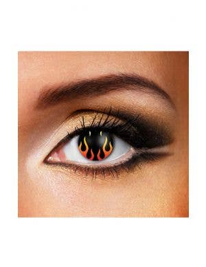 Hells Flame Eye 90 Day Wear Black and Orange Contact Lenses