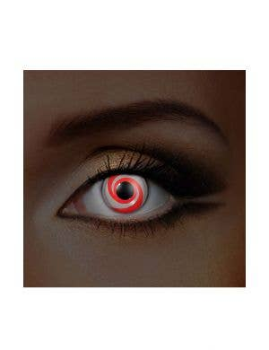 Swirl UV Reactive Glow 90 Day Wear Red and White Contact Lenses