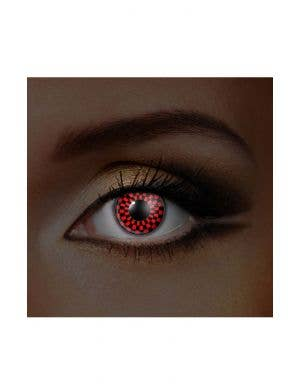 Checkers Red and Black UV Reactive 90 Day Wear Contact Lenses