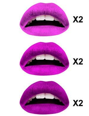 Purples Temporary Lip Tattoos - 3 Colour Multi-pack