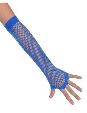 Fingerless Blue 80's Fishnet Gloves