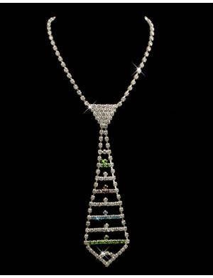 Rhinestone Coloured Necktie Necklace