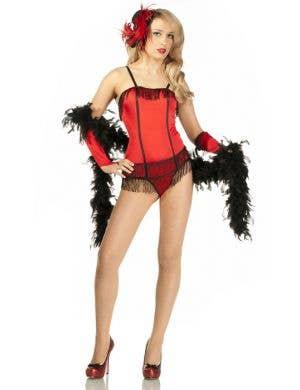 Women's Red Burlesque Showgirl Costume Main Image