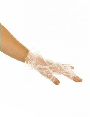 Fingerless White Lace Wrist Gloves