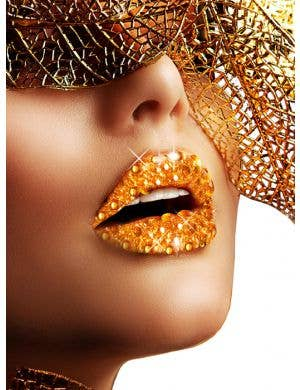 Gold Kisses Rhinestone Stick On Makeup