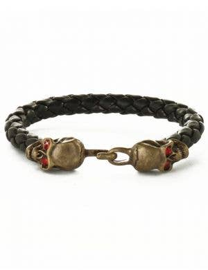 Novelty Black And Brass Pirate Skull Women's Braided Costume Bracelet Accessory With Red Gem Stone Eyes Main Image