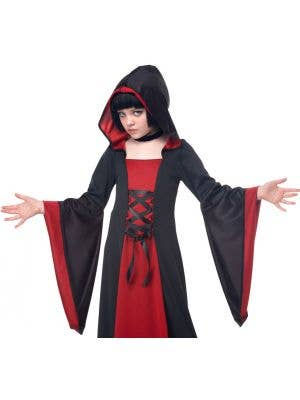 Hooded Long Robe Girls Halloween Costume - Red