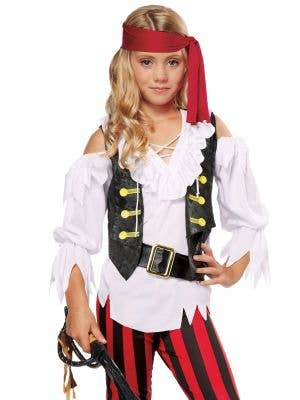 Posh Striped Pirate Girls Fancy Dress Costume