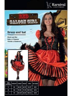 Wild West Red Saloon Girl Women's Costume