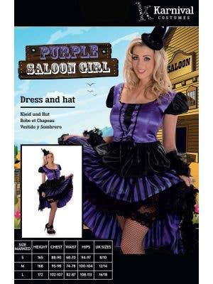 Wild West Purple Saloon Girl Women's Costume