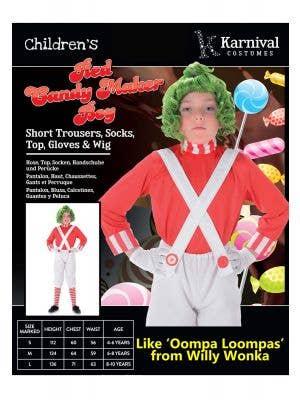 Candy Maker Boys Book Week Costume
