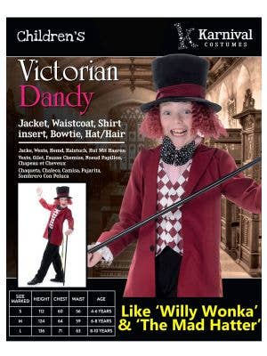 Victorian Dandy Boys Willy Wonka Costume