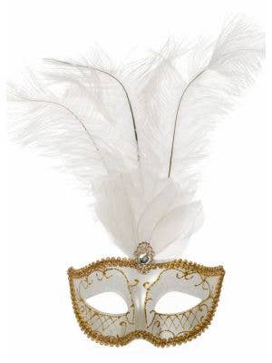 Elegant Tall Feather Masquerade Mask, White & Gold