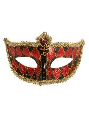 Harlequin Glitter Venetian Masquerade Mask - Black and Red