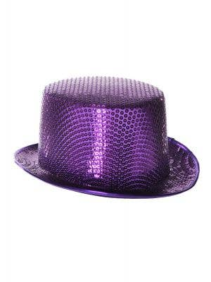 Sequinned Costume Top Hat in Purple