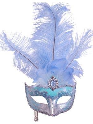 Hand-held Venetian Feather Light Blue Masquerade Mask