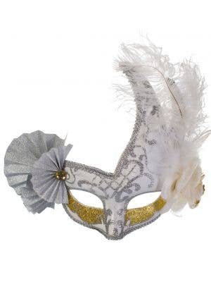 Elaborate Silver and White Fan Masquerade Mask