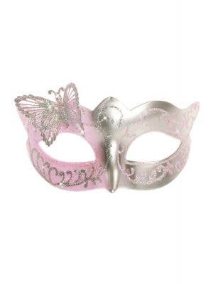 Butterfly Venetian Mask in Pale Pink and Silver