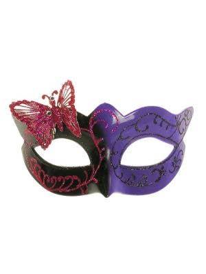 Butterfly Venetian Mask in Black and Purple