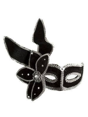 Luxury Elaborate Leaf Masquerade Mask, Black and Silver