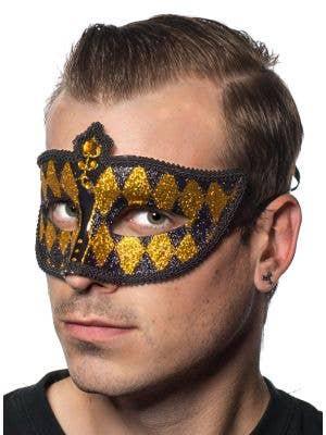 Harlequin Glitter Venetian Masquerade Mask - Black and Gold